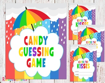PRINTABLE Guess The Kisses Sign, Baby Shower Party Sign, Baby Shower Game, Rainbow Baby Shower Party Game, INSTANT DOWNLOAD