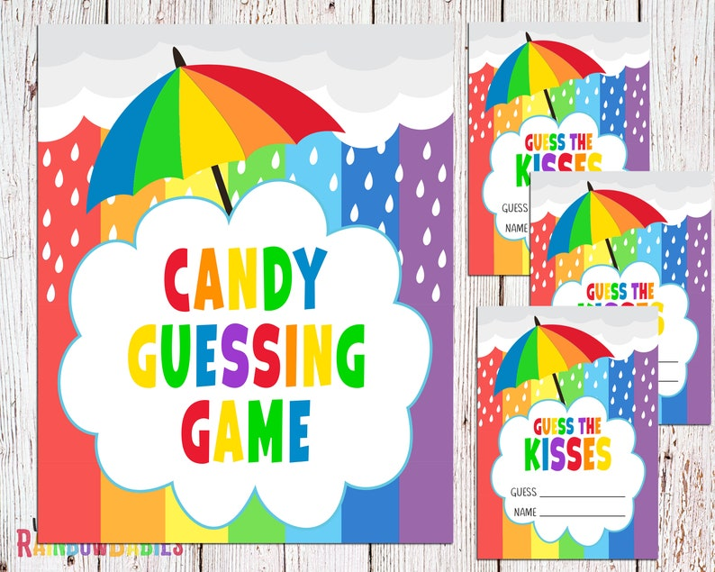 PRINTABLE Guess The Kisses Sign Baby Shower Party Sign Baby image 0