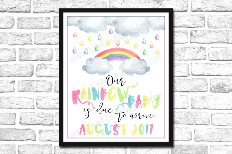 Rainbow Baby Pregnancy Announcement Sign PRINTABLE Pastel image 0