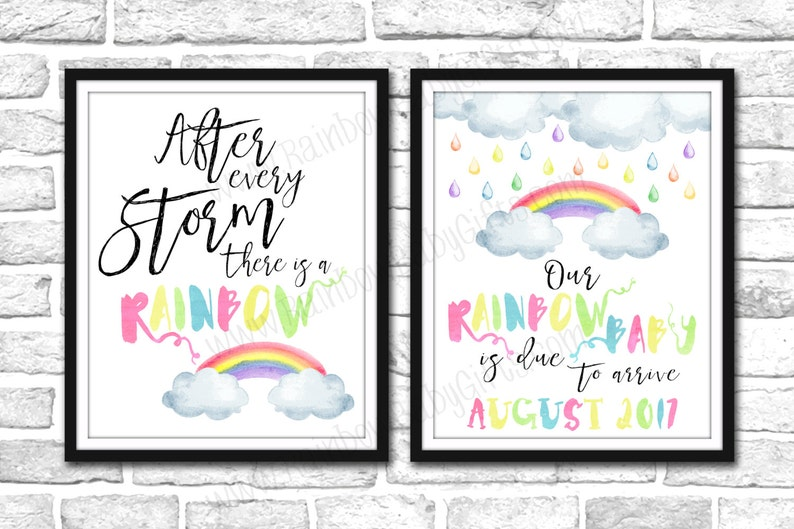 Rainbow Baby Pregnancy Announcement Signs PRINTABLE Pastel image 0