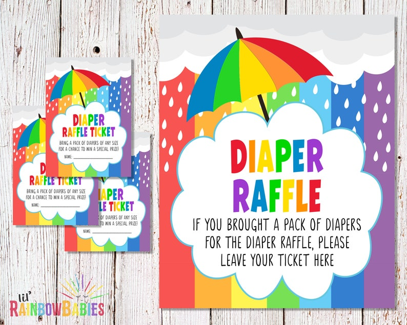 PRINTABLE Diaper Raffle Tickets Diaper Raffle Sign Baby image 0