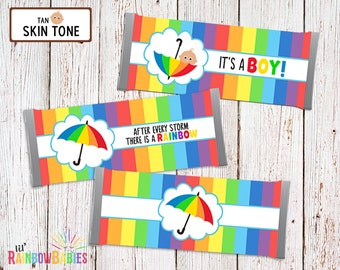 Printable Chocolate Bar Wrappers, Rainbow Baby Shower Favors, Baby Shower Chocolate Bar Favors, Candy Bar Wrappers, Tan Skin Tone
