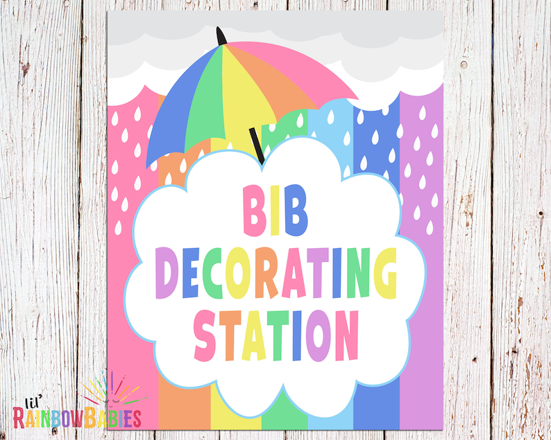 PRINTABLE Bib Decorating Station Sign Baby Shower Party Sign image 0