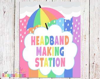 PRINTABLE Headband Making Station Sign, Baby Shower Party Signs, Baby Shower Games, Pastel Rainbow Baby Shower Sign, INSTANT DOWNLOAD