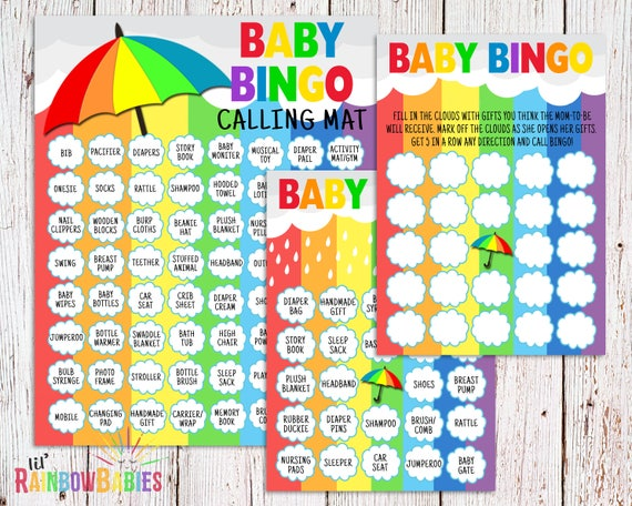 Baby Shower Bingo, Rainbow Baby Shower Bingo, Baby Bingo, PRINTABLE Baby  Shower Games, Baby Shower Bingo Cards, Printable Baby Bingo Cards