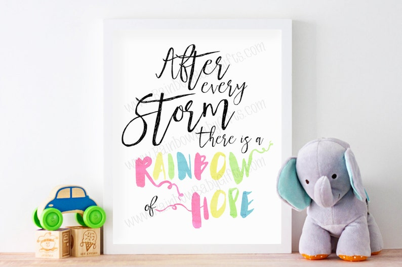 Rainbow Baby Nursery Wall Art After Every Storm There Is A image 0