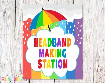 PRINTABLE Headband Making Station Sign, Baby Shower Party Signs, Baby Shower Games, Game Station, Rainbow Baby Shower Sign, INSTANT DOWNLOAD
