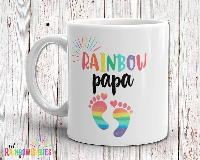 Rainbow Papa Mug Baby Shower Gift New Dad Gift Papa Gift image 0