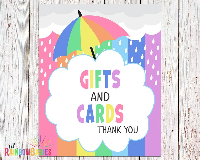 Pastel Rainbow Baby Shower Sign PRINTABLE Gifts And Cards image 0