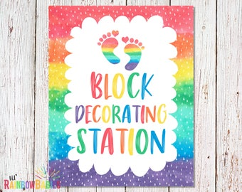 PRINTABLE Block Decorating Station Sign, Baby Shower Party Sign, Baby Shower Game, Rainbow Baby Shower Party Game, INSTANT DOWNLOAD