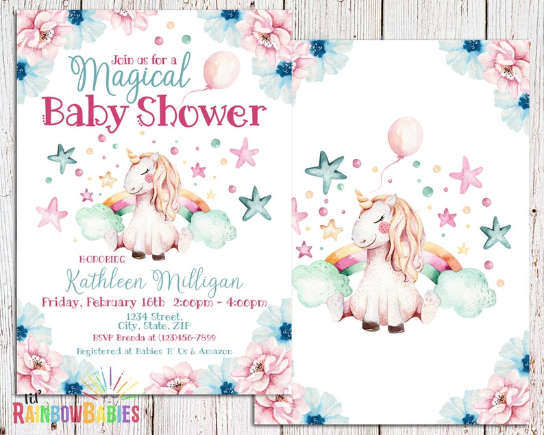 Unicorn Baby Shower Invitation PRINTABLE Rainbow Unicorn image 0