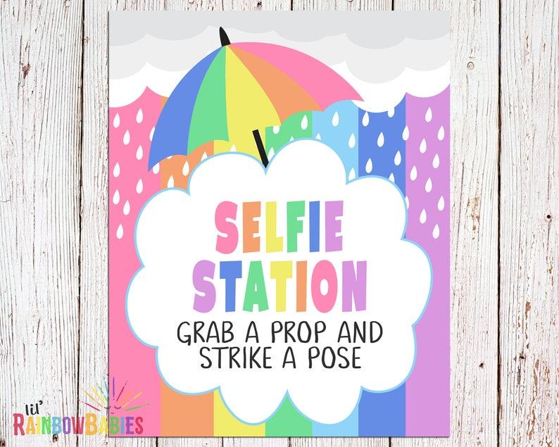 PRINTABLE Selfie Station Sign Rainbow Pastel Photo Booth image 0