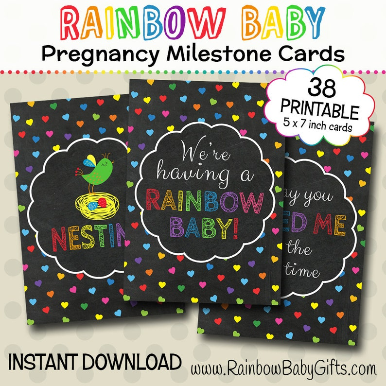 Rainbow Pregnancy Milestone Cards Rainbow Hearts Chalkboard image 0