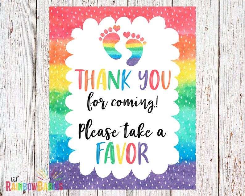 PRINTABLE Thank You For Coming Please Take A Favor Sign Party image 0