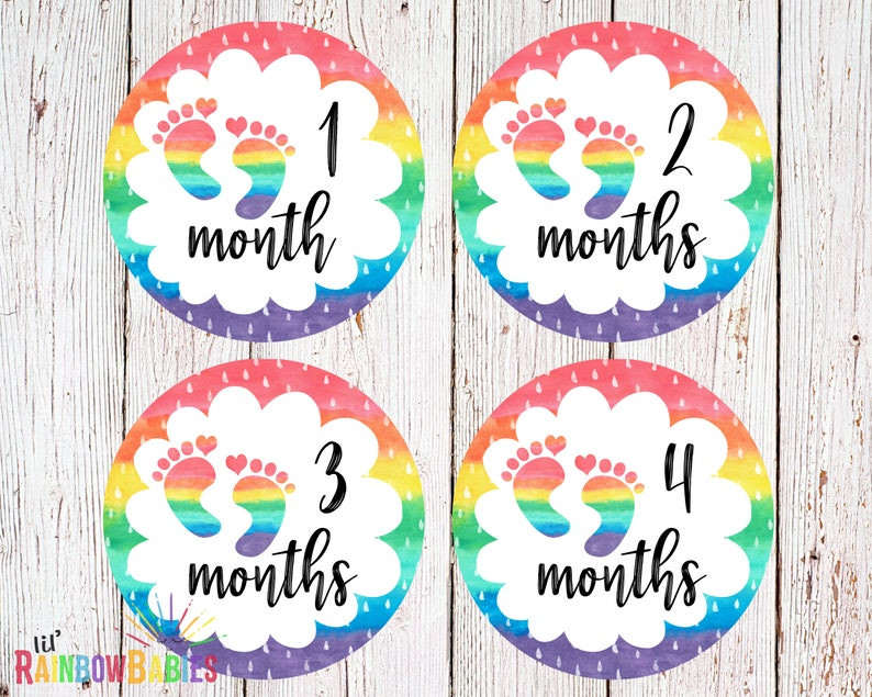 PRINTABLE Rainbow Baby Monthly Stickers Baby Monthly Sticker image 0