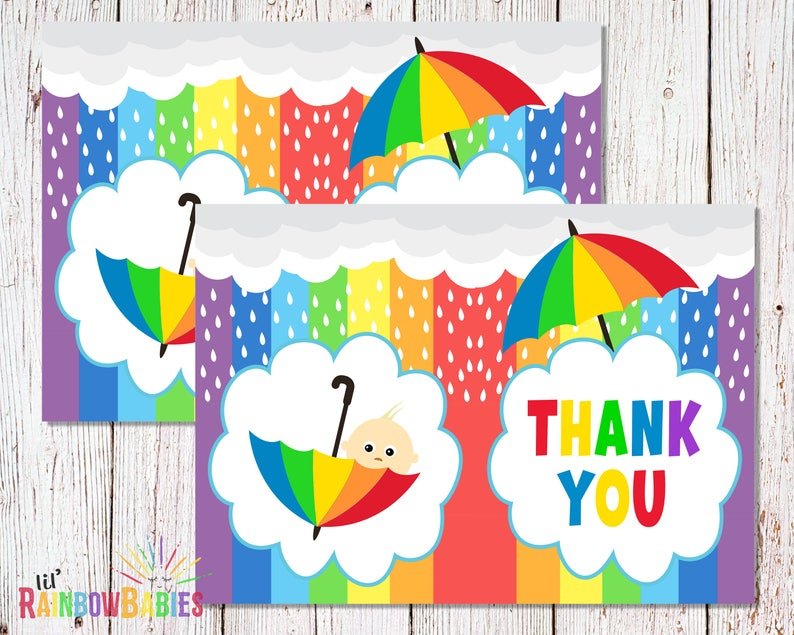 PRINTABLE Rainbow Baby Shower Thank You Card Baby Shower image 0