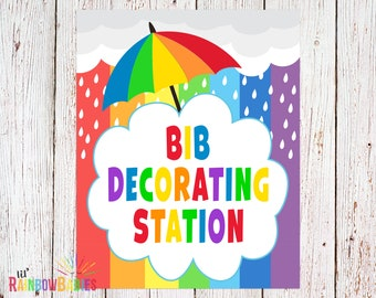 PRINTABLE Bib Decorating Station Sign, Baby Shower Party Sign, Baby Shower Game, Rainbow Baby Shower Party Game, INSTANT DOWNLOAD