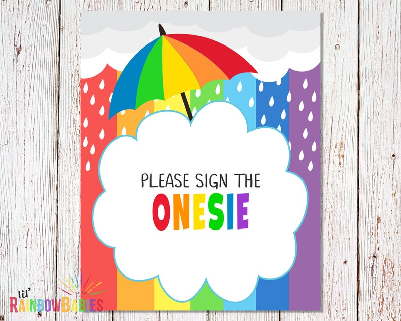 PRINTABLE Rainbow Baby Shower Party Sign Baby Shower Games image 0