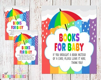 PRINTABLE Books For Baby, Baby Shower Book Request, Rainbow Book Request, Rainbow Baby Shower, Baby Book Invitation Insert, INSTANT DOWNLOAD
