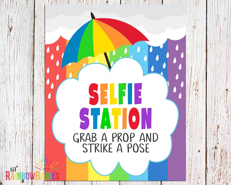 PRINTABLE Selfie Station Sign Rainbow Photo Booth Sign Grab image 0
