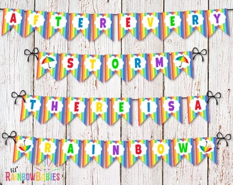 Rainbow Baby Shower Banner Bunting Flags, Printable Baby Shower Bunting, Baby Shower Banner Flags, After Every Storm There Is A Rainbow