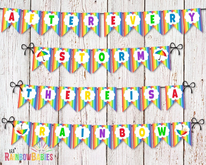 Rainbow Baby Shower Banner Bunting Flags Printable Baby image 0