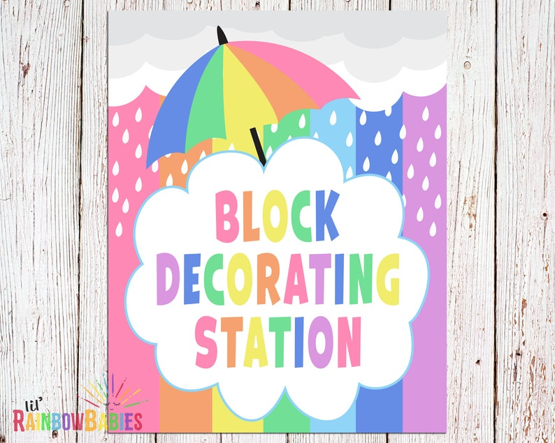 Block Decorating Station Sign PRINTABLE Baby Shower Party image 0
