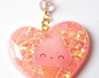 Pastel Pink Kawaii Ice Cream Resin Key Chain