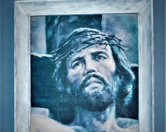 Jesus of Nazareth, Jesus Christ, Jewish preacher, crown of thorns, Framed Canvas Print 14 x 18