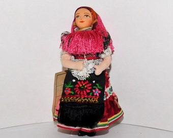 Vintage European Costume Styled Cloth Doll, Vibrant Colors, Embroidered Apron, Hand Painted Face, Gypsy Doll
