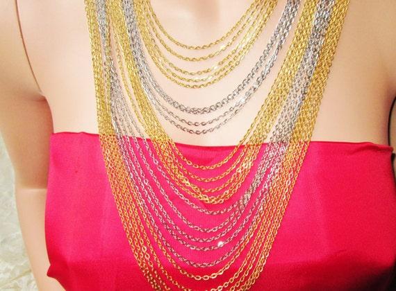Multi Chain Necklace Gold & Silver Chains Cascade