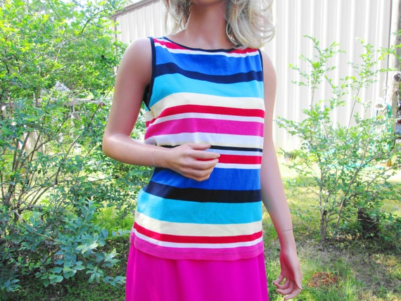 0bb0ab79e5ccfd Rainbow Striped Tank Top Vintage Sz Large Muscle Top Festival