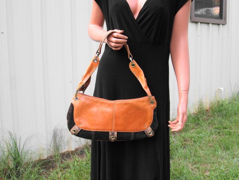 de546df635 Leather Suede Snake Skin Shoulder Strap Purse Vintage Angelo