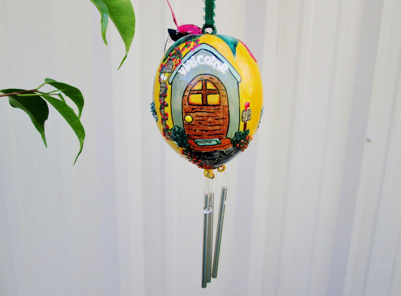 "Lemon Wind Chime Gourd Lemon Fairy House Home Fruit Cottage Ornament w Butterfly 7"" Folk Art Woodland Home Garden Nursery Decor"