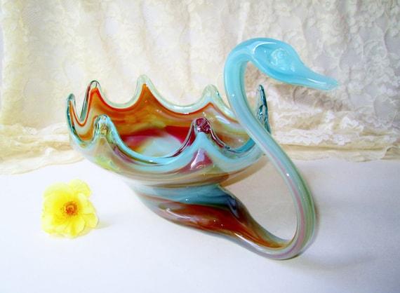 Blown Glass Swan Bowl Vintage Lg Murano Glass Vase Fruit Bowl Etsy