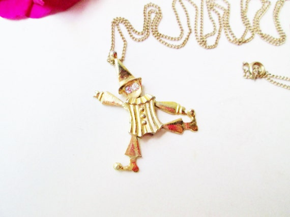 Gold clown necklace articulated clown pendant austrian crystal etsy image 0 aloadofball Gallery