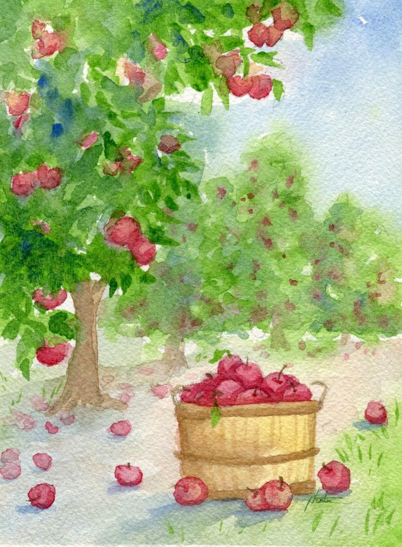 Watercolor Original Painting Farm Landscape Apple Ochard image 0