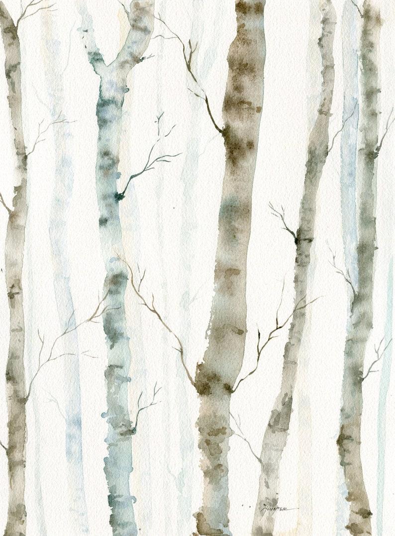 Watercolor Original Painting Winter Landscape Birch Trees image 0