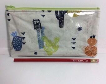 Owl/ cactus -Glitta pouch -pencil case