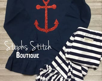 4a8152eb6aae4d Navy Ruffled Glitter Vinyl Anchor Shirt with Navy Striped icing Ruffled  Leggings Newborn Toddler Girls Fourth of July Outfit Nautical Outfi