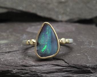 Boulder Opal, 14k Gold Granules & Sterling Silver Ring