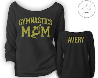 a43226d3a7b90 Customized Gymnastics Mom Ladies' Terry Raw-Edge 3/4-Sleeve Raglan Shirt