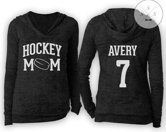 Customized Hockey Mom Ladies' Burnout Hoodie