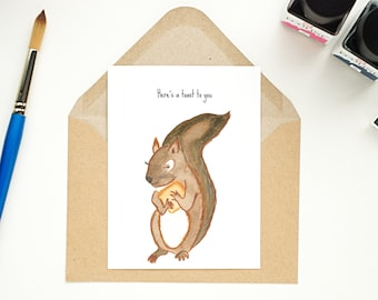 Watercolour postcard - Squirrel with toast - birthday