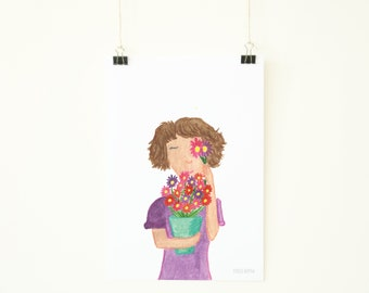 Watercolour print - Girl with flowers