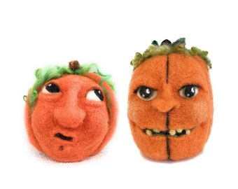 Double Pumpkin Fun, Two Needle Felted Jack O Lanterns - A Pair of Orange Pumpkins with Faces for Great Fall Decorating
