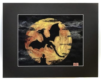 """Dragon Autumn Moon Needle Felt Wool Picture Matted 11""""x14"""" - Flying Dragon Silhouette, Harvest Moon, Goth, Medieval Art"""