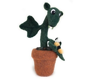 Unique and Original Needle Felt Plant, Leif and Friend - All wool in pine green and a terracotta-colored felted pot; original design