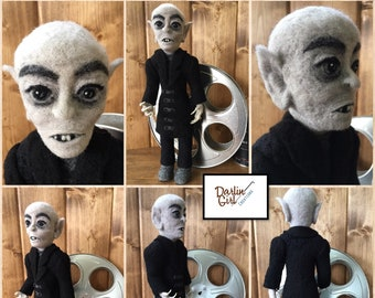 Custom Made Nosferatu Art Doll and Collectible - Max Schreck as Count Orloff - 100% Needle Felted Wool Sculpture - FREE SHIPPING US & Canada