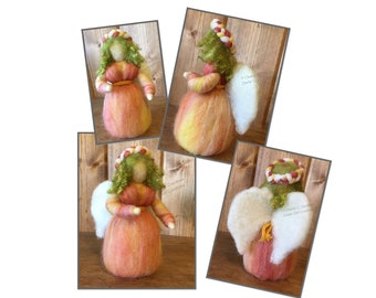 Waldorf Style Needle Felt Spring Fairy, Garden Angel, Standing Roving Angel Doll, Sunset Colors, Green Curly Hair